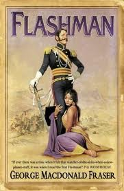 Cover artwork from the 2005 reprinting of Flashman. The background image is taken from William Barnes Wollen's 1898 depiction of the last stand near Gandamak village during the Retreat from Kabul