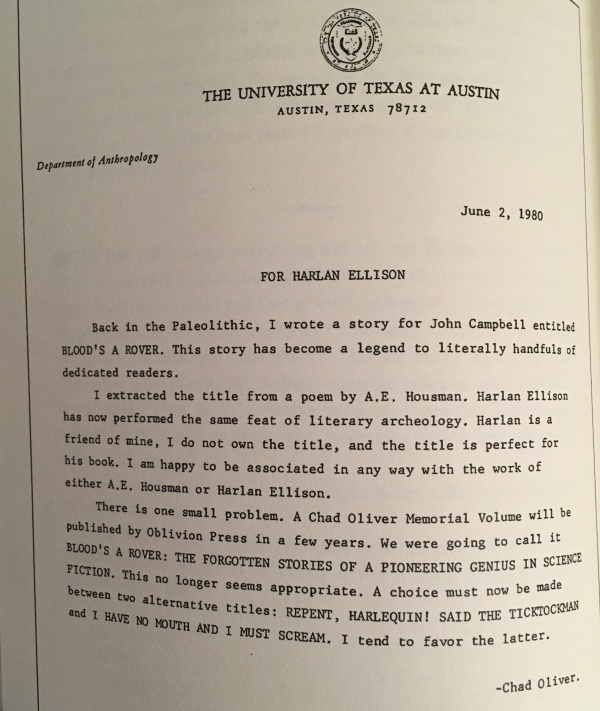 chad oliver note to harlan ellison